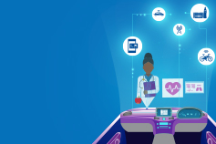 Future of mobility: Healthcare - illustration of dr surrounded by medical icons