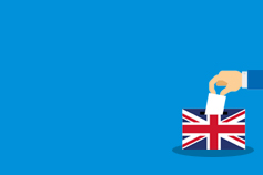 General election 2019 implications for energy - illustration-of-british-flag-ballot-box-against-blue-background