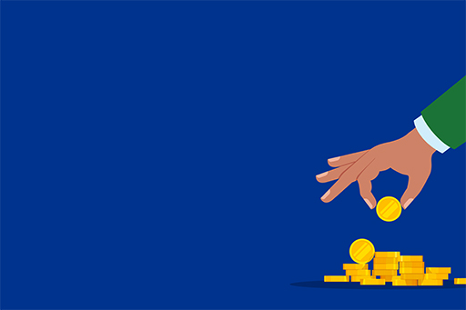 illustrations-of-hand-picking-gold-coins-against-blue-background