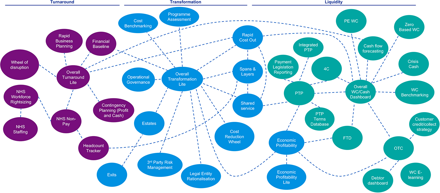 Graphic representing the KPMG Restructuring 'app ecosystem'