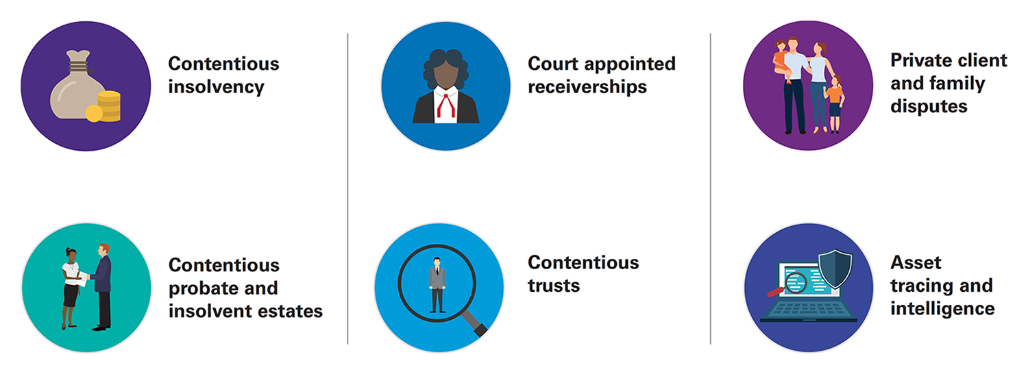 Graphic showing our specialist expertise in the Contentios insolvency asset recovery sector