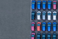 Parked cars top view