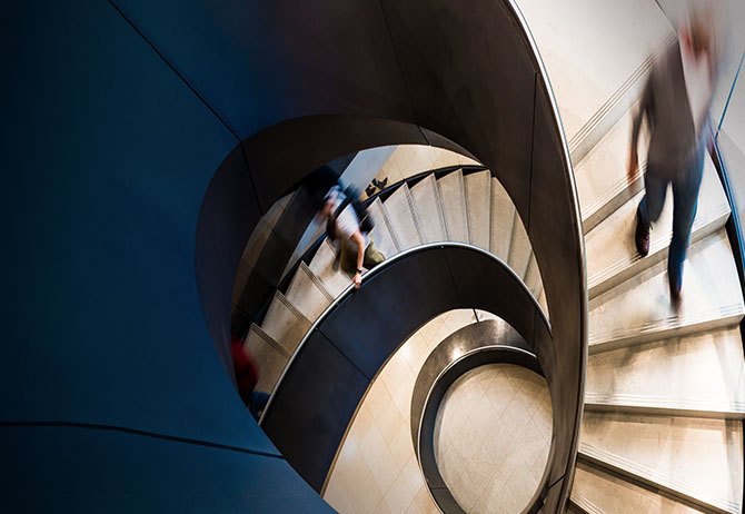 Time-lapse of a circular set of stairs