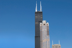 Blue sky with building