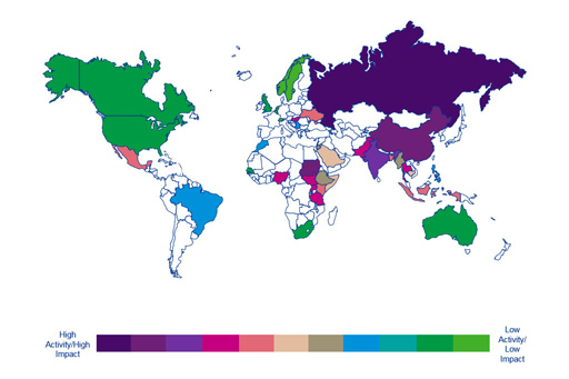 Civil society risk matrix world heat map