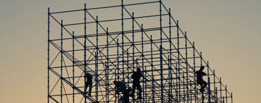 Workmen on scaffolding