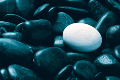 Odd white pebble among all blacks