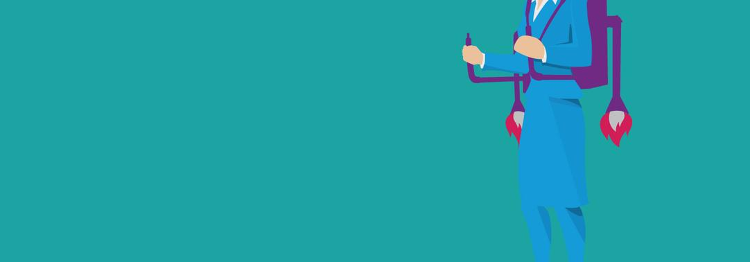 Illustration of a businesswoman with a jetpack against a turquoise background