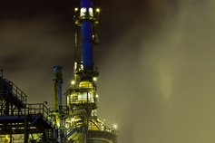 Chemical plant at night