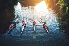four women rowers