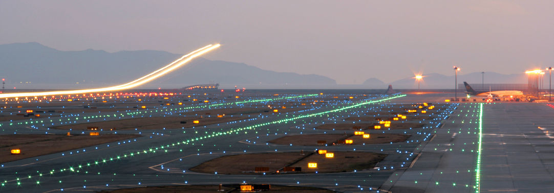 illuminated runway