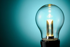 light bulb with shaded blue background