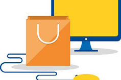 illustrated computer monitor, mouse and shopping bag