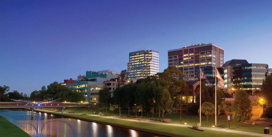 Parramatta skyline at night