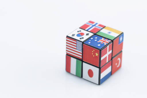 rubix cube of various country flags