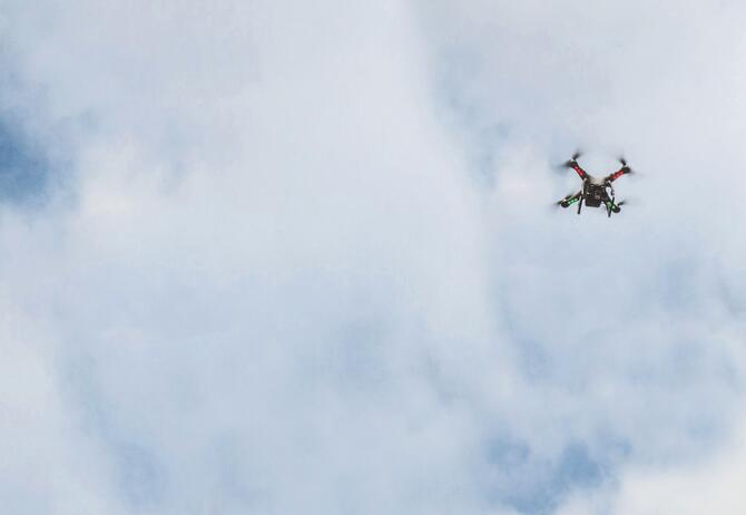 Drone flying open in open sky