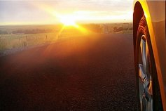 Car wheel road solar sunrise horizon