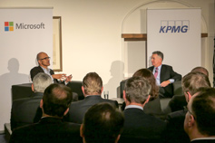 John Veihmeyer and Satya Nadella discussing KPMG-Microsoft alliance at Davos