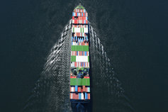 Top view of cargo ship