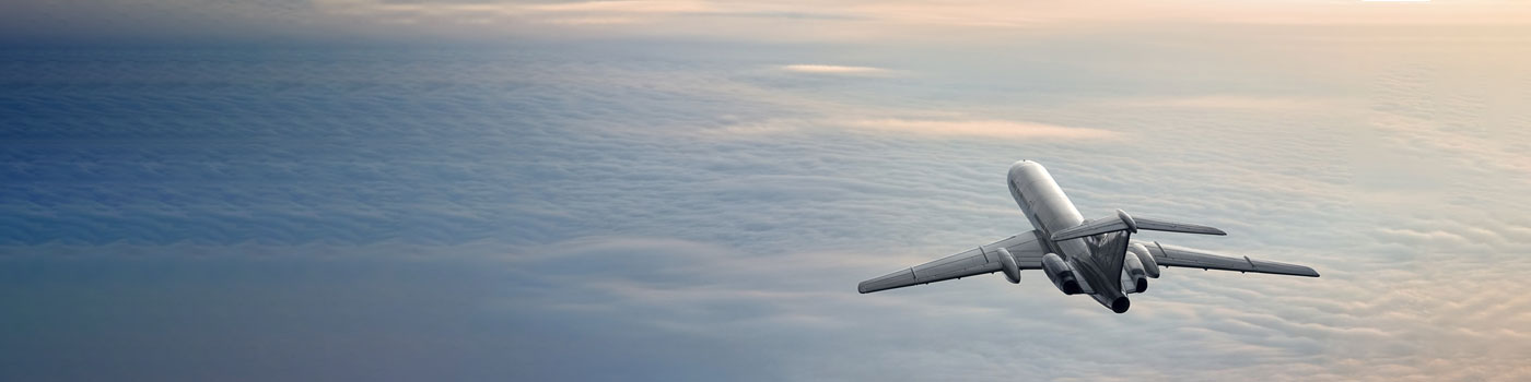 Flying plane above the clouds