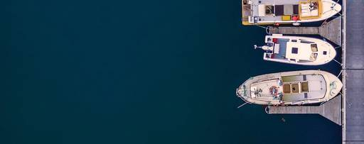 Top down view of boats in harbour