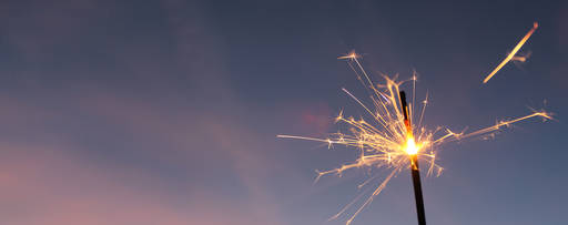 sparkler in night sky