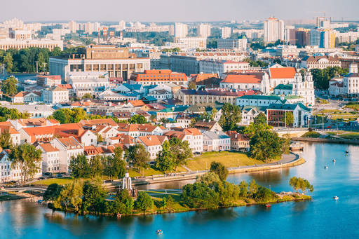 Aerial view of Belarus city