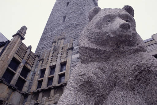 Worm's eye view of a bear statue