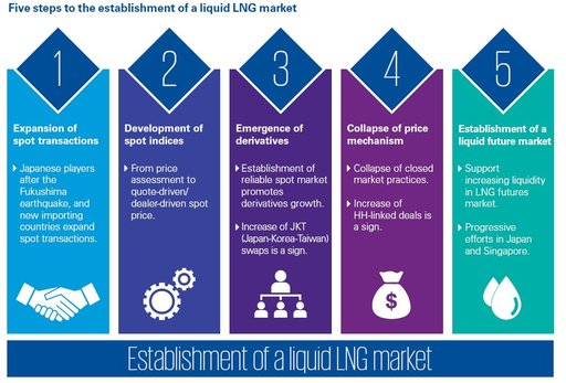 Five steps to the establishment of a liquid LNG market infographic