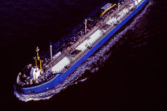 Blue ship in water