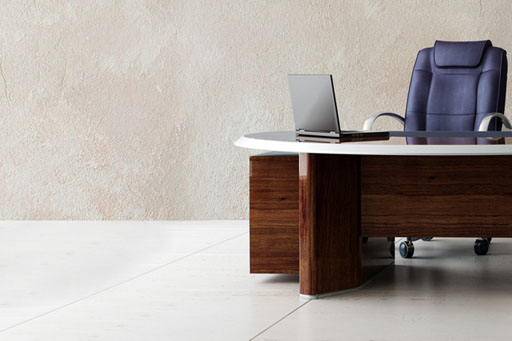 desk in modern office with executive chair