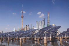 Solar panels with Shanghai in the background