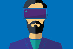 Man wearing VR gear illustration