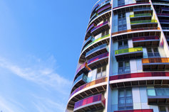 Condominium with colourful windows