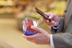 Man using his phone while buying groceries