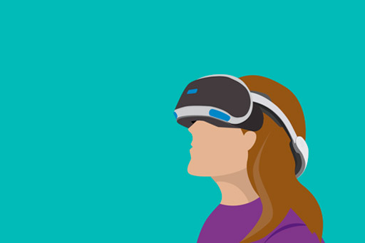 Woman with a virtual reality headset on – illustration