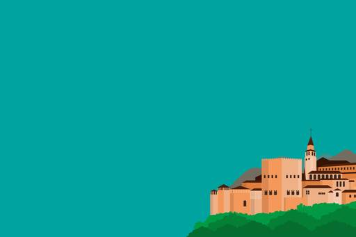 Alhambra in Spain on green background