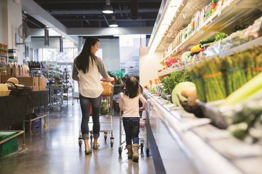 Asian woman grocery shopping with young daughter