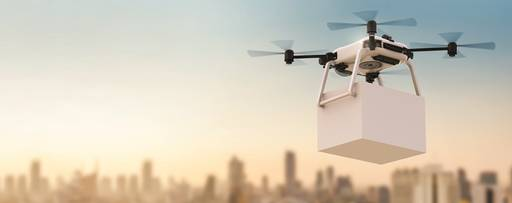drone delivering a box of files