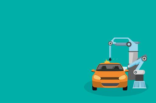 Car maintenance through robotic arms in green background