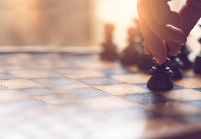 Focused view of chess game