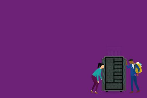 Man and woman configuring server on purple background