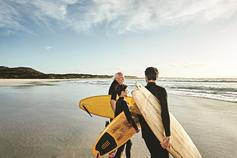 Three men going surfing - three generations