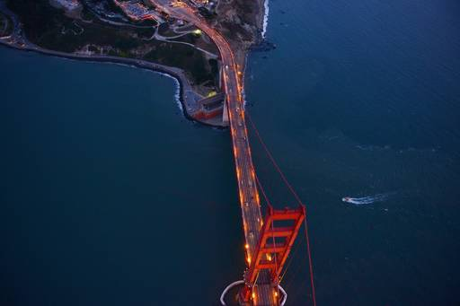 Top view of golden gate bridge