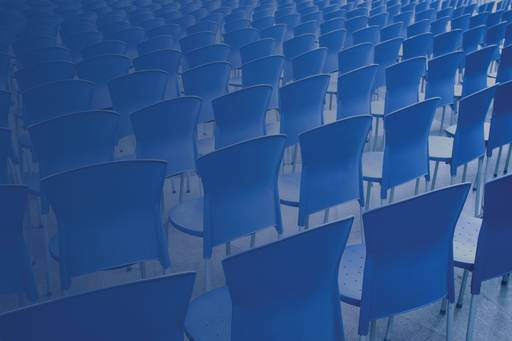 Many blue chairs