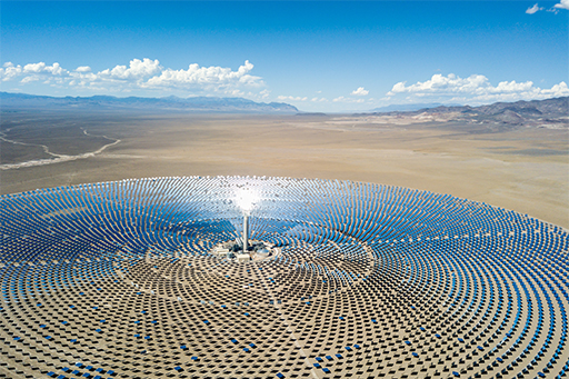 Aerial view of solar plant in desert