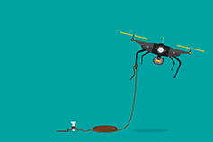 Drone tied to rope illustration