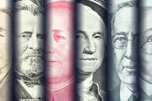 Famous portraits faces on banknotes