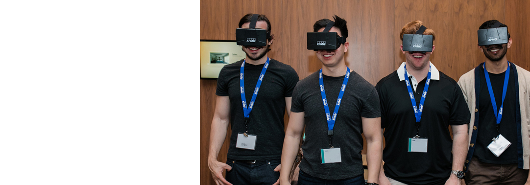 Four KPMG employees wearing VR Gear