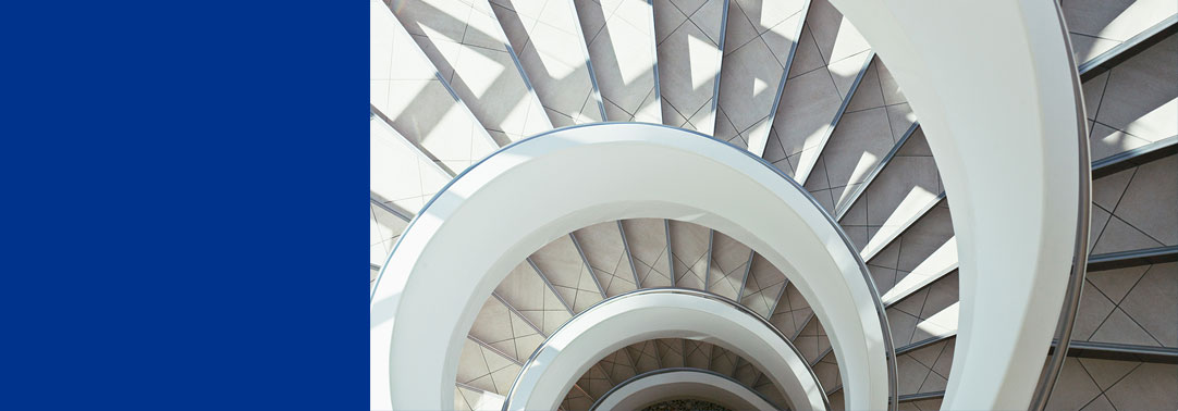 White spiral stairs